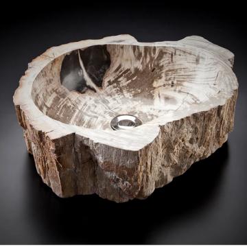 o40x15x4,5 Lavatório em madeira fóssil de árvore petrificada. G+11015019